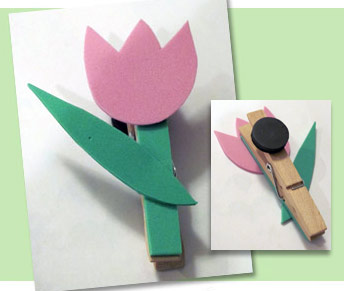 Tlip clothespin magnet craft