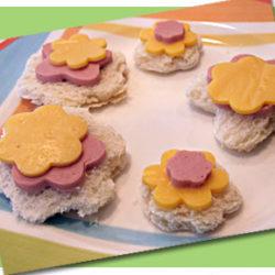 Cute flower cookie cutter sandwiches