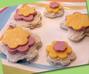 Cute flower cookie cutter sandwiches
