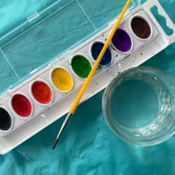 Preparing watercolor paints for painting