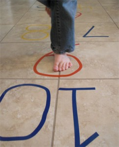 play hopscotch indoors
