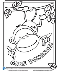 monkey coloring page - projects for preschoolers - Coloring Pages Monkeys Trees
