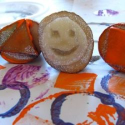 Create art with potato stamps