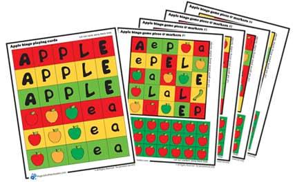 Free printable apple bingo game