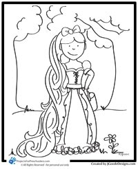 the story of rapunzel and coloring page projects for preschoolers