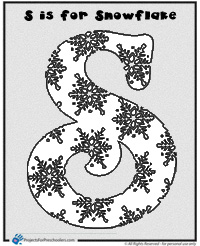 S is for snowflake coloring page