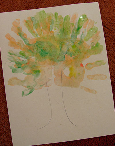 Hand print tree for Autumn