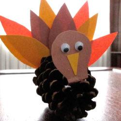 Make a pine cone turkey