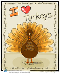 Turkey coloring page for Thanksgiving