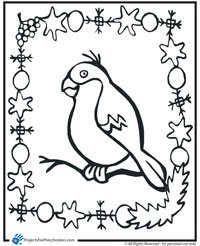 Holiday bird coloring page