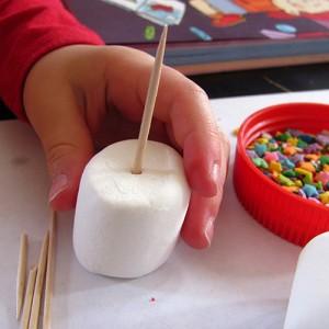 Use toothpicks to stack marshmallows