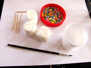 Marshmallow snowmen supplies