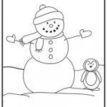 Snowman and penguin coloring page from JGoode Designs
