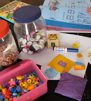Letter B objects and activities