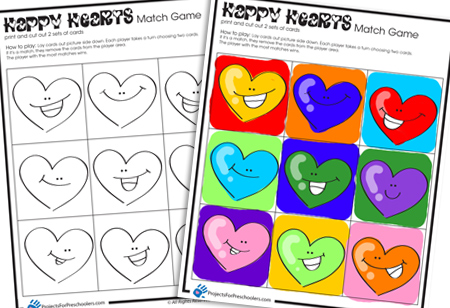 Happy Hearts Valentine matching game - Projects for Preschoolers
