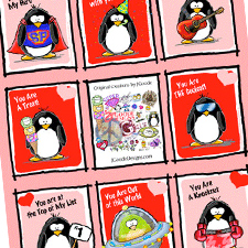 Penguin valentines from Jen Goode