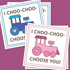 Printable train valentines from Kaden's Corner