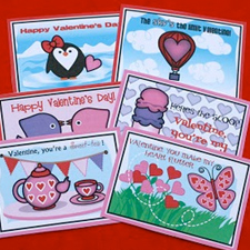 Printable Valentine cards from Shabby Chic Crafts