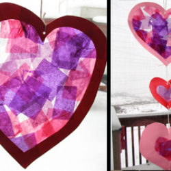 Pretty stained glass tissue paper hearts