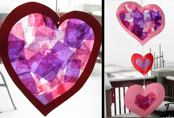 Making stained glass tissue hearts