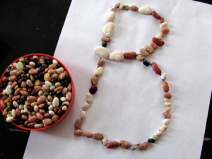 the letter B with beans