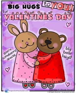 Happy Valentines Day bunny bear hugs
