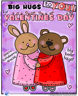 Bunny Bear Hugs Valentines Day Coloring Page   Projects For Preschoolers