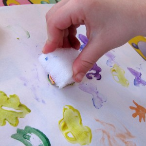 Stamping with paint and foam stamps