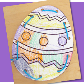 easter egg threading card projects for preschoolers