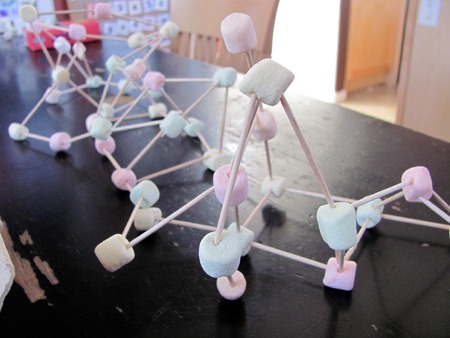 Building with marshmallows and toothpicks