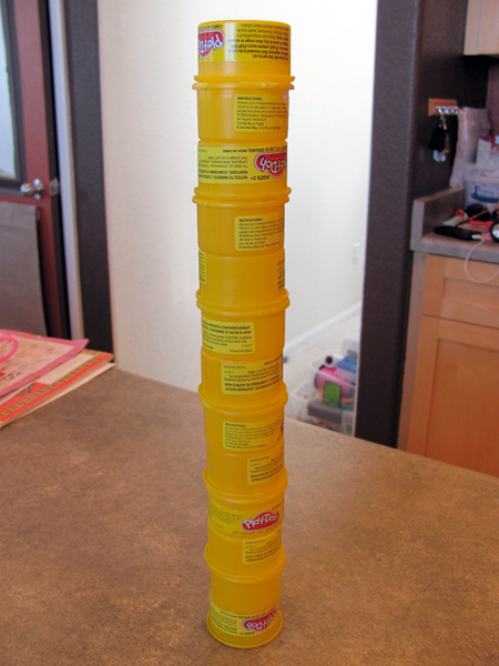 play dough can tower