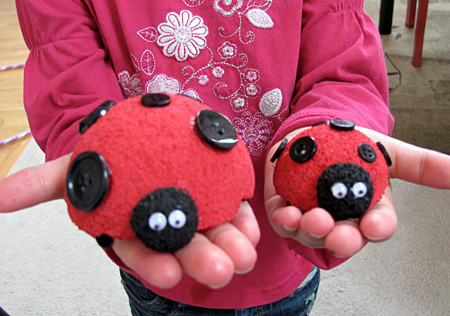 Make cute Styrofoam ladybugs