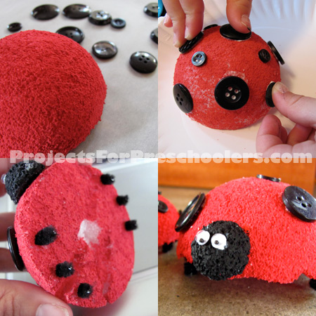 how to make Styrofoam ladybugs
