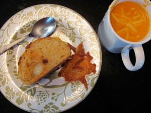 Homemade tomato soup and grilled cheese sandwiches