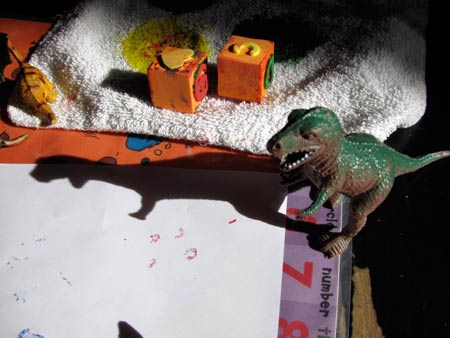 painting with dinosaurs T-Rex