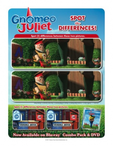 Gnomeo and Juliet differences printable
