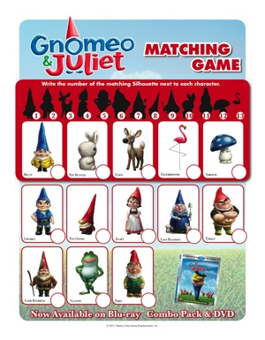 Gnomeo and Juliet matching game