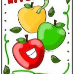Happy apple coloring page by Jen Goode