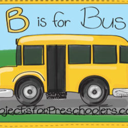 B is for bus coloring page and worksheet