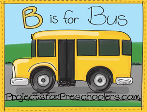 B is for Bus coloring page