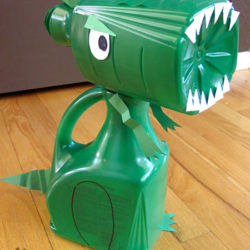 Make a recycled juice bottle dinosaur T-rex