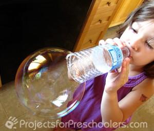 water bottle bubble blowing