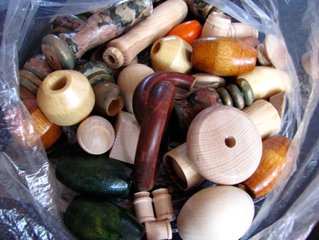 wood beads and craft pieces