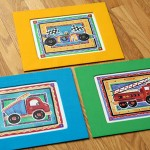 DIY matting kids art with fabric