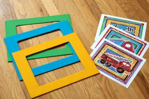 Making mats with fabric for kids art