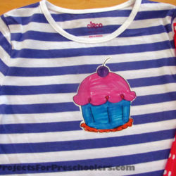Hand colored cupcake t-shirt