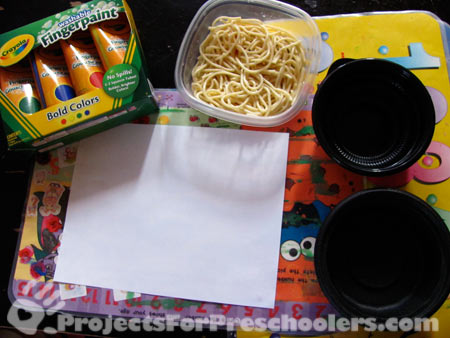 Supplies to make a spaghetti painting
