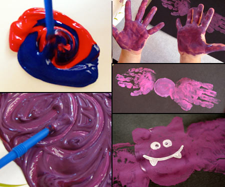 Making purple paint and a handprint bat
