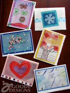 Hand made greeting cards with scanned kids art