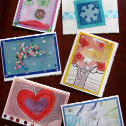 Make greeting cards with kids art